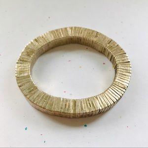 Anthropologie Gold Brass Stretch Bracelet